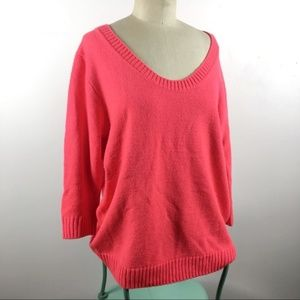 Gap pink scoop neck sweater with 3/4 sleeves XL
